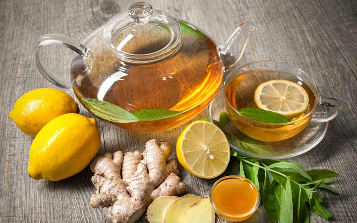 دمنوش چای سبز و لیمو
